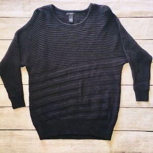 Alfani Petite Sweater Scoop Black Sparkle Ribbed S